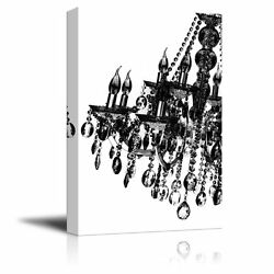 wall26 Canvas Wall Art Black Crystal Chandelier on White Background 12quot;x18quot; $28.82