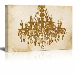 wall26 Canvas Crystal Chandelier on Vintage Background 24quot;x36quot; $44.34