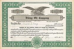 Viking Oil Company gt; 1952 Wisconsin old stock certificate share $9.99