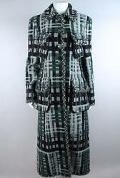 Chanel Green and Black Fantasy Tweed Long Coat with Pockets Size 40 76-1