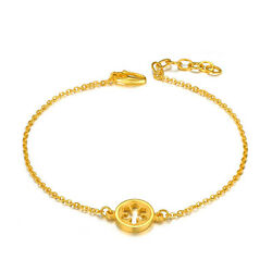 New 24K Yellow Gold Snowflake Button with O Link Bracelet 17.5-19.5cm Length