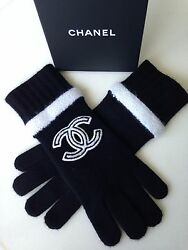 CHANEL 2016 TOP FALL CC BLACK CASHMERE DRESS GLOVES NEW