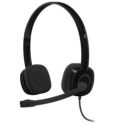 Logitech H151 Analog Stereo Headset 3.5mm Input with Boom Microphone Black