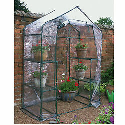 Walk In Greenhouse PVC Plastic Garden Grow Green House with multi Level Shelves