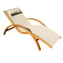 Leisure Season Outdoor Furniture Larch Wood Sling Patio Lounge Chair Beige