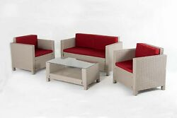 Oliver & Smith Outdoor 4pc Patio Furniture wTable Wicker Modern RED New