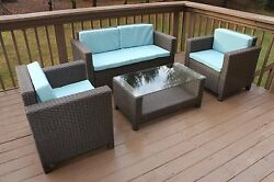 Oliver & Smith Outdoor 4pc Patio Furniture wTable Wicker Modern Turquoise New