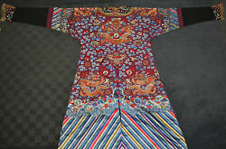 Fine Antique Chinese Dragon robe embroidered silk