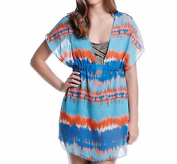 Miken watercolor Chevron Dolman Cover Up Printed V Swimsuit Cover Up Dress M S $7.99