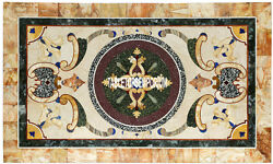 6'x4' White Marble Center Dining Table Top Gemstone Inlaid Patio Furniture Decor