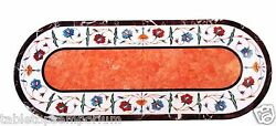2.5'x5' Marble Dining Table Top Rare Marquetry Orange Stone Inlay Patio Art Deco