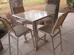 5pc Patio Set Pub Height by Telescope Sling Chairs Solid Surface 3' Square Table