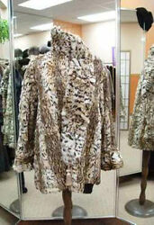 MINT CANADIAN SPOTTED FUR JACKET COAT W MATCHING SCARF WOMEN WOMAN SIZE 12 MED