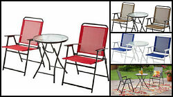 3 piece bistro set Outdoor porch Patio yard furniture table and folding chairs