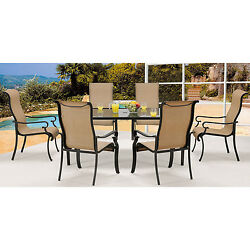 7 Piece Outdoor Patio Dining Set Entertaining Metal Table Chair Umbrella Hole
