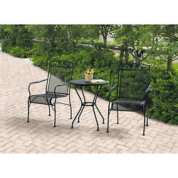 Bistro Table And Chairs Wrought Iron Set Patio Black Mesh Steel Frame Outdoors