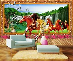 3D Horse waterfall 326 Wall Paper Print Wall Decal Deco Indoor Wall Murals