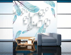 3D Blue feathers 235 Wall Paper Print Wall Decal Deco Indoor Wall Murals