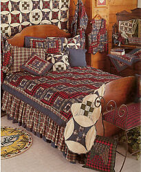 6-pc Red Log Cabin - Patchwork Quilt 2 Shams 2 Pillows & Bed Skirt - Rustic