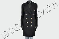 BALMAIN 4690$ Authentic New Black Wool & Cashmere Double Breasted Coat sz 40 8