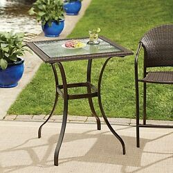 Stratford Wicker and Glass Outdoor Furniture Patio Bistro Porch Balcony Table