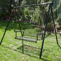 2 Piece Black Metal Patio Hanging Swing & Stand Set Outdoor Home Furniture Pool