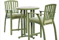 Bistro Table Set Outdoor Patio Chairs With Cushions 3 pc Bar Height Furniture