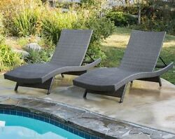 Swimming Pool Furniture Outdoor Patio Deck Chaise Lounge Chairs Set of 2 - Gray