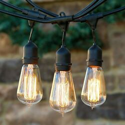 (Three) Outdoor Weatherproof Vintage Edison Bulb String Lights Patio Lights-25ft
