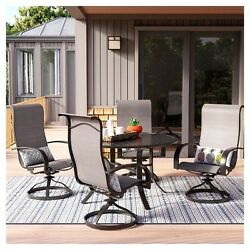 Camden 5pc Dining Set High Back Sling Rocker Chair With Arms Easy Clean Patio