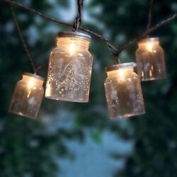 Mini Mason Jar String of 10 3 Amp Outdoor Patio Porch Lights Approx. 8 FT Long