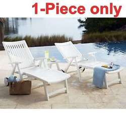 White Resin Chaise Lounge Outdoor Beach Folding Patio Furniture Pool Chair Deck