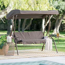 Brown 2 Person Canopy Patio Swing Stand Set Home Living Outdoor Furniture Porch