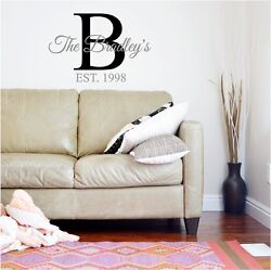 Family Name amp; Initial Monogram Fancy Wall Sticker Vinyl Decals Lettering $17.99