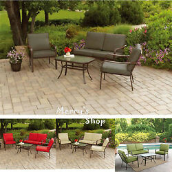 4PC Patio Sofa Set & Table Lawn Cushioned Metal Furniture Garden Outdoor Brown