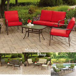 4PC Patio Sofa Set & Table Lawn Cushioned Metal Furniture Garden Outdoor Red