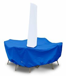 Round Table High Back Dining Patio Set Furniture Cover with Umbrella Hole Blue