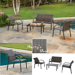 4PC Wicker Patio Set Loveseat 2 Chairs Table Lawn Garden Outdoor Brown Furniture