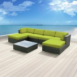 Patio Outdoor Wicker Furniture 7-Piece Ottoman Table All Weather Couch Sofa Set