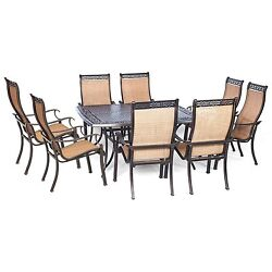 9 Piece Outdoor Patio Garden Yard Decking Chairs Dining Set Large Square Table