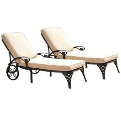 Home Styles  Biscayne Black Chaise Lounge Chairs 2 Taupe Cushions BlackTaupe