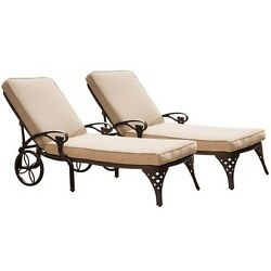 Home Styles  Biscayne Bronze Chaise Lounge Chairs 2 Taupe Cushions BronzeTaupe
