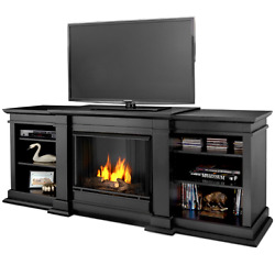 Black TV Stand with Fireplace Heater Entertainment Center Console Wood Shelf LCD