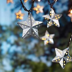 Metal Tin Stars String of 10 UL Outdoor Patio Porch Lights Approx. 6.5 FT Long