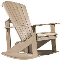 Recycled Plastic Adirondack Rocking Chair Beige 34