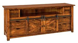 Amish Rustic TV Stand Cabinet Solid Wood Barn Door Sliding Track System 72