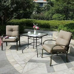 Outdoor 3 PC Garden Wrought Iron Furniture Patio Sectional Set Chairs w Table