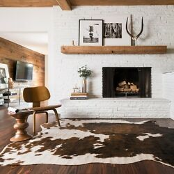 Cheap Western Decor For Home Living Room Faux Cowhide Beige Brown Area Rug