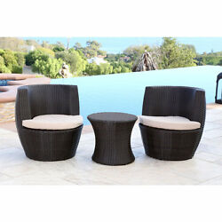 Patio Bistro Table And Chairs Wicker Resin Barrel Seats Beige Cushions Set Of 3