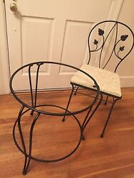 Black  Wrought Iron Outdoor Table And Chairs